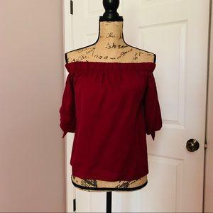 Miami Francesca's Burgundy Off Shoulder Blouse S